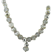 Swarovski Crystal Comet Argent Light Bead Necklace with Rhinestone Rondelles ~ Lavaliere Style