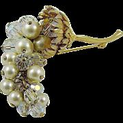 Stunning Cascading Grape Cluster Brooch ~ Imitation Pearls ~ Crystals
