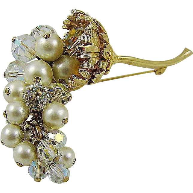 Stunning Cascading Grape Cluster Brooch ~ Imitation Pearls ~ Crystals