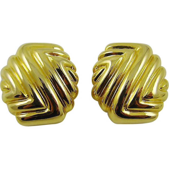 Paolo Gucci Polished Gold Tone Abstract Design Earrings