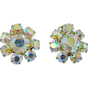 Aurora Borealis Rhinestone Cluster Earrings