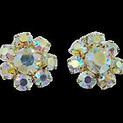 Aurora Borealis Rhinestone Cluster Earrings