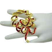 Krementz Gold Tone and Red Ribbon Wreath Brooch