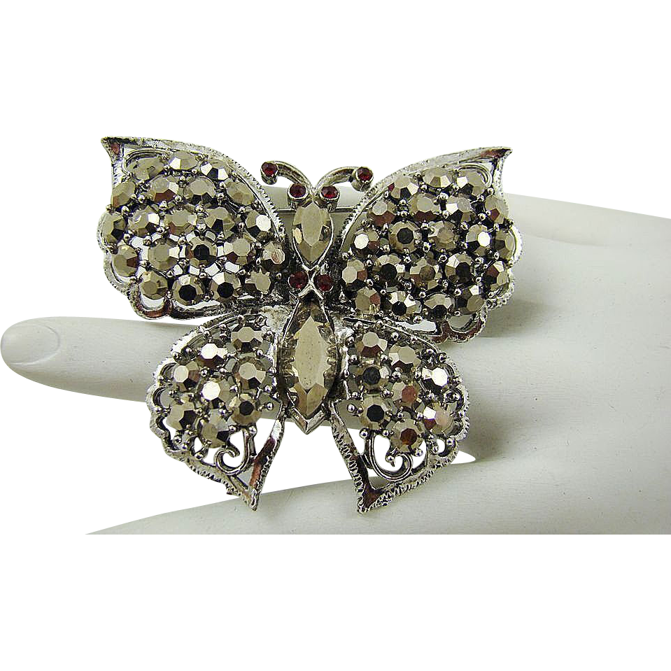 Weiss Comet Argent Light Rhinestone Butterfly Brooch