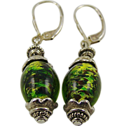 Mixed Green Art Glass Earrings