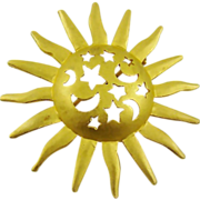 Sun, Moon and Stars Gold Tone Brooch