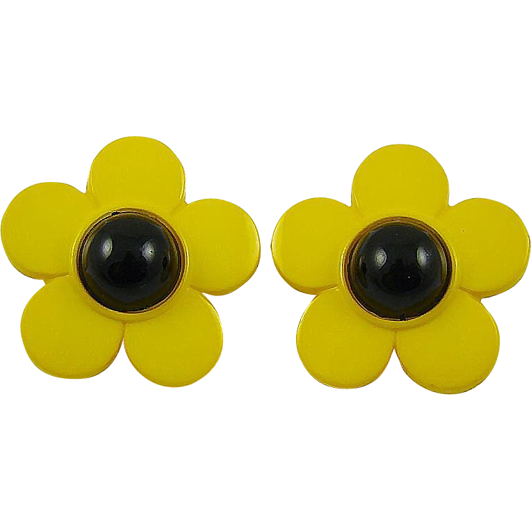 Pretty Yellow Black Eyed Susan Earrings ~ Nod to Beetle Fans