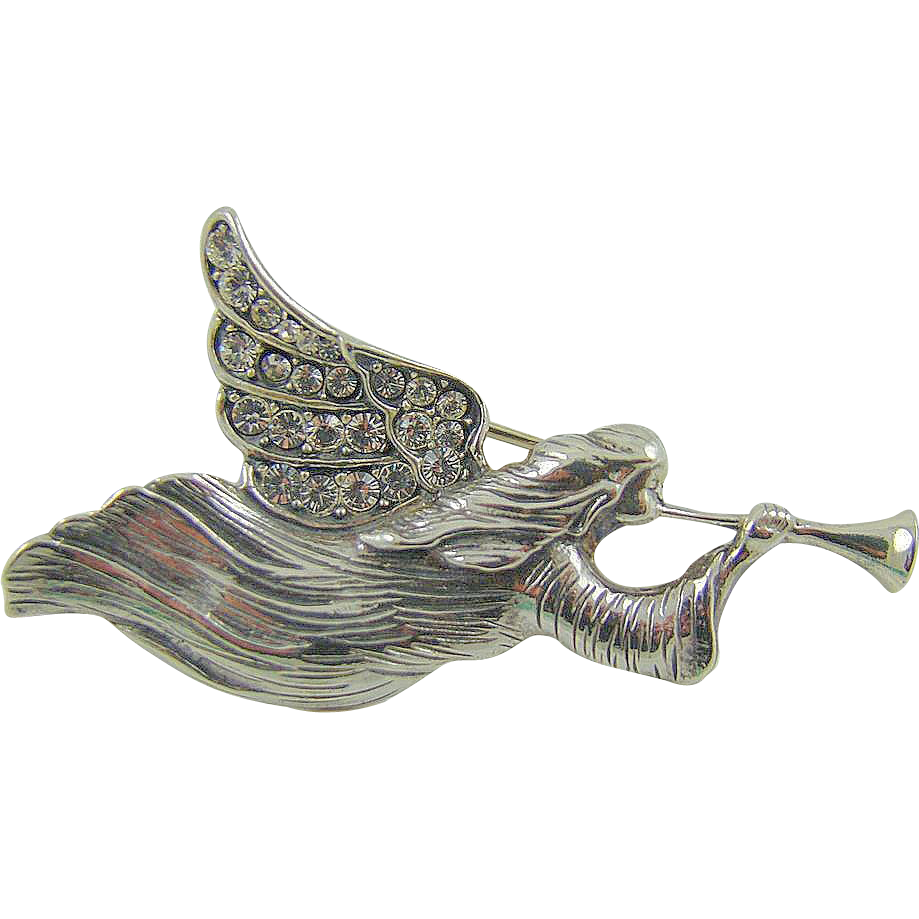 Sterling Jezlaine Trumpeting Angel Rhinestone Brooch