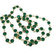 Swarovski Emerald Green Crystal Bezel Set Necklace