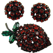 Warner Strawberry Brooch and Earrings
