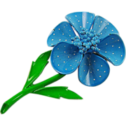 Blue Polka Dot Enamel Flower Brooch