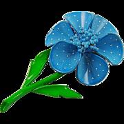 Blue Polka Dot Enamel Flower Brooch