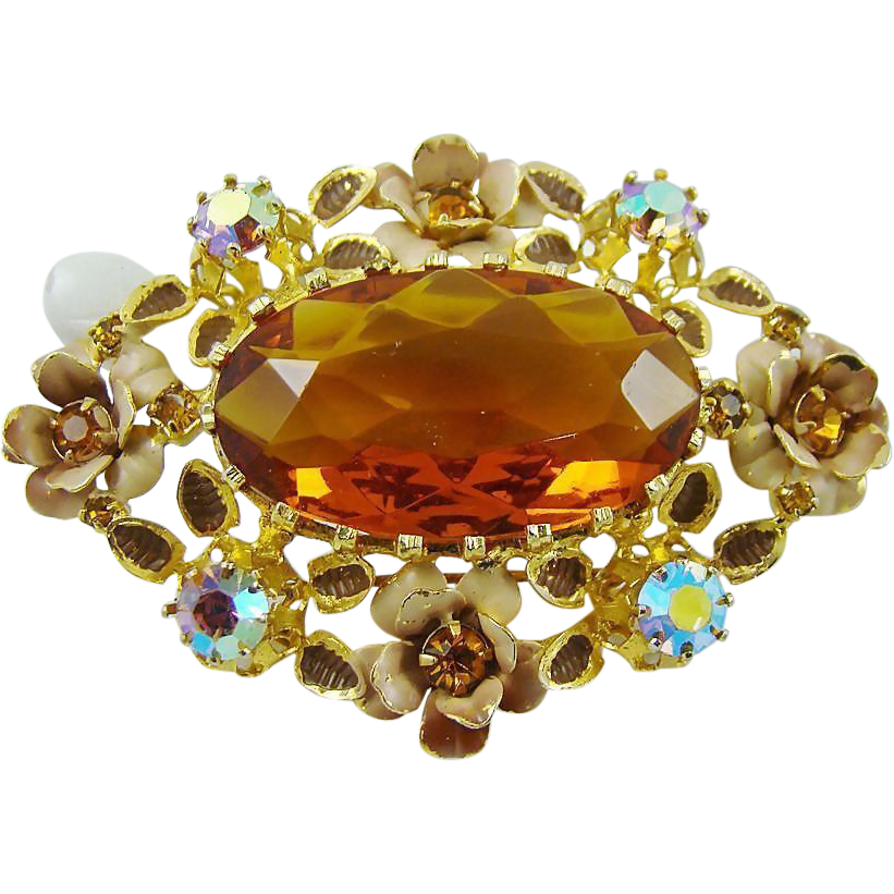 Breathtaking Honey Amber Glass ~ Rhinestones ~ Enamel Austria Brooch