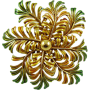 Large Gold Tone and Green Enamel Fern Brooch