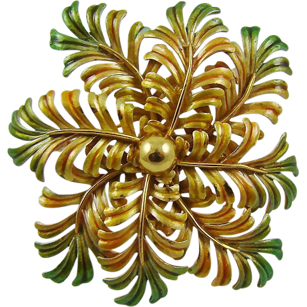 Large Gold Tone and Green Enamel Fern Brooch