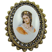 Benedikt NY Porcelain Victorian Style Portrait Brooch with Rhinestones