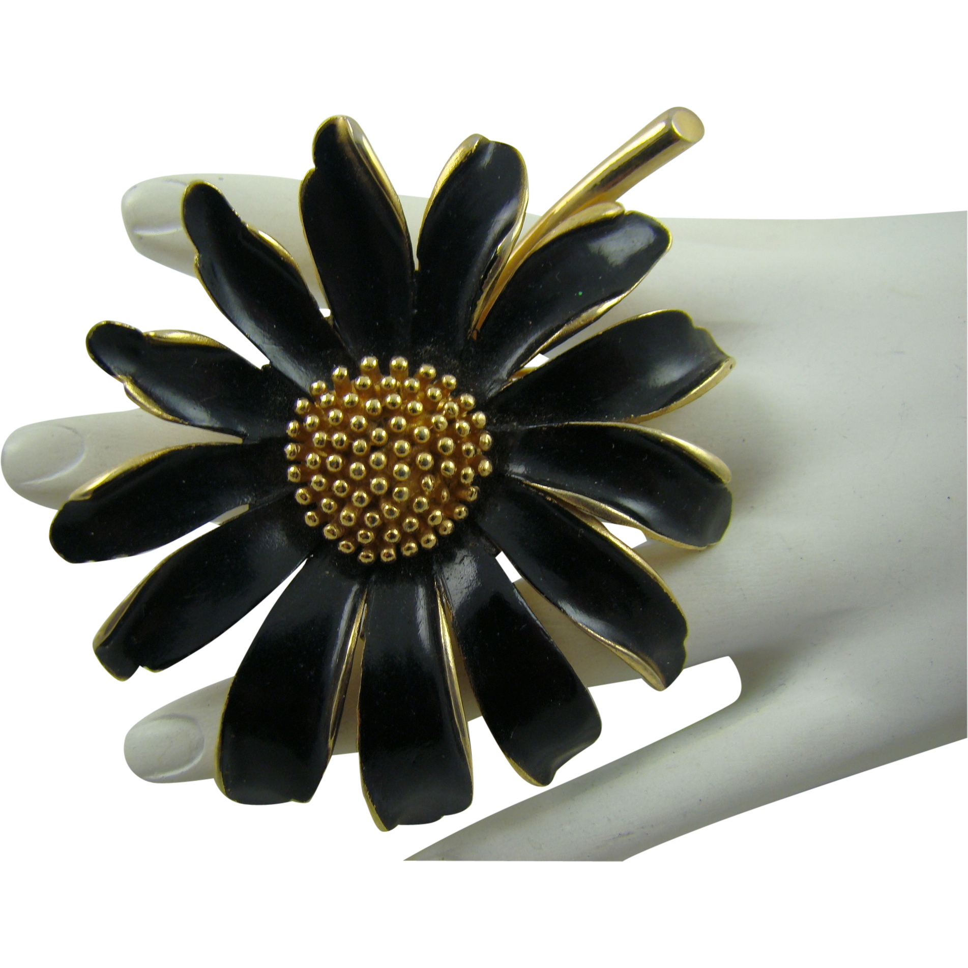 Large Marvella Black Enamel and Gold Tone Flower Brooch