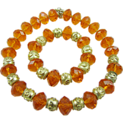 Magnificent Orange Faceted Glass Necklace & Bracelet with Gold Tone by George