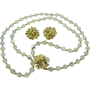 Vendome Stunning Evening Demi Parure Crystal and Gold Tone