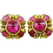 Bright Pink Rivoli and Bead Runway Earrings