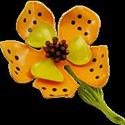 Hedison Enameled Tiger Lily Brooch with Orange Rhinestones