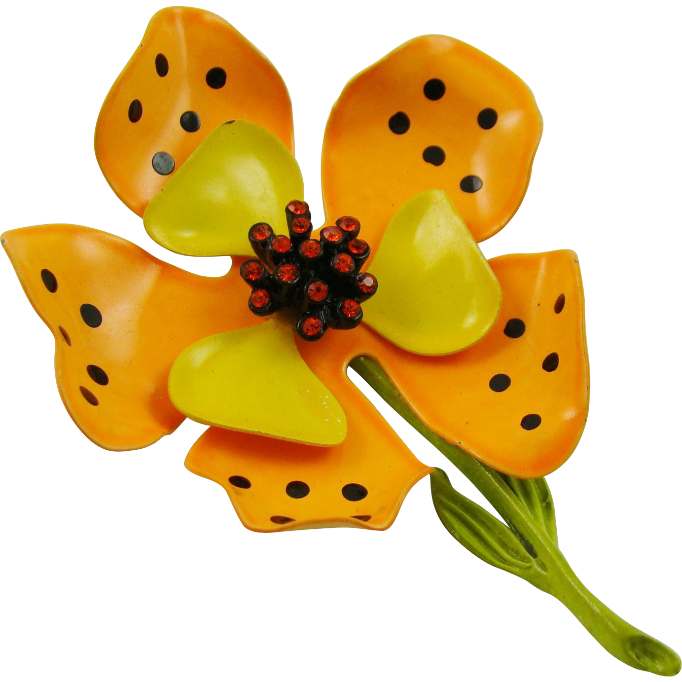 Hedison Enameled Tiger Lily Brooch with Orange Rhinestones