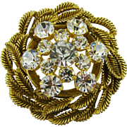 Magnificent Clear Rhinestone Brooch with Gold Tone Leaves