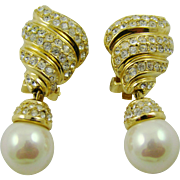 Grosse' Imitation Pearl and Gold Plated Rhinestone Evening Earrings