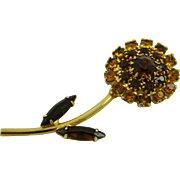 Honey Amber and Topaz Rhinestone Flower Brooch
