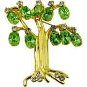 KJL (Kenneth Jay Lane) Tree of Life Brooch ~ Peridot Glass
