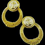 80s Ladies Polished Gold Tone Hoop Nautical Earrings ~ Cream Enamel