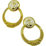 80s Ladies Polished Gold Tone Hoop Nautical Earrings ~ Cream Enamel