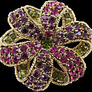 Graziano Swirled Ribbon Multi-Colored Rhinestone Brooch