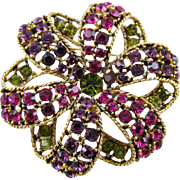 Graziano Swirled Ribbon Multi-Colored Rhinestone Brooch