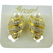 Grosse' Imitation Pearl and Gold Plated Rhinestone Evening Earrings on Original Card