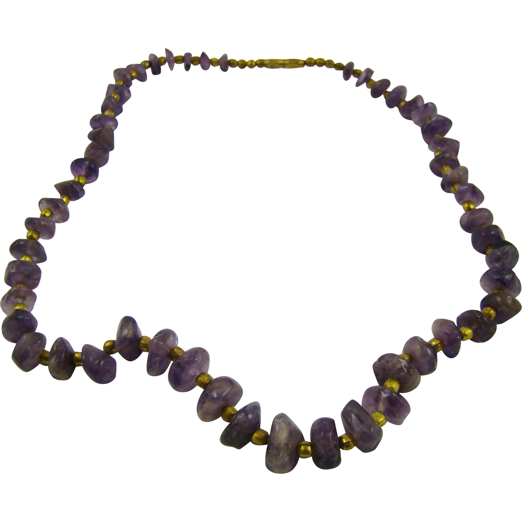 Graduated Amethyst Chunks Necklace with Brass