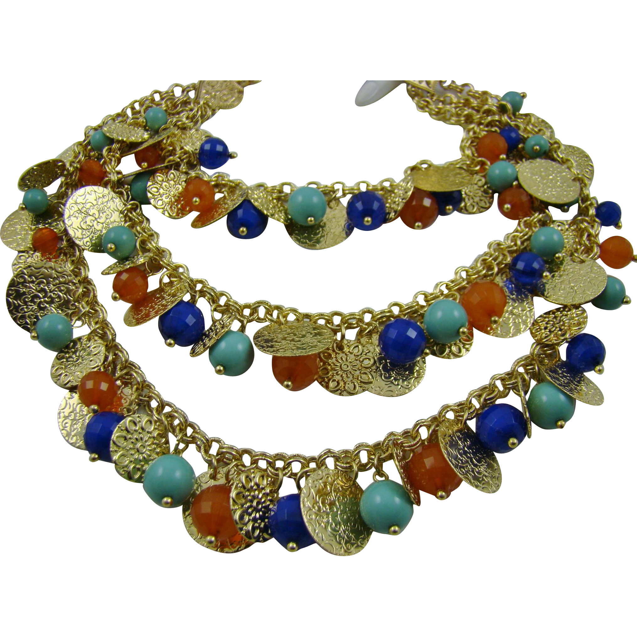 R. J. Graziano Three Tiered Bib Necklace with Glass Beads and Gold Tone Disks