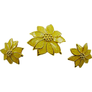 Glitter Yellow Poinsettia Demi Parure