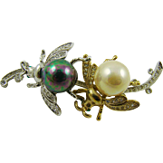 Spectacular Bees On A Limb Brooch with Imitation Pearls