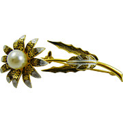 Damascene Floral Brooch with Imitation Pearl