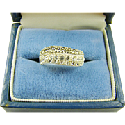 Sterling Marcasite and Crystal Ring, Size 5