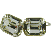 Eisenberg Emerald Cut Clear Earrings