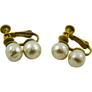 Miriam Haskell Faux Baroque Pearl Earrings Signed
