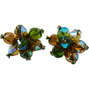 Vendome Multi Colored Bead Rhinestone Tipped Earrings