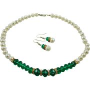 Emerald Green Glass Bead and Faux Baroque Pearl Set