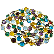 "Brilliant Multi-Colored Swarovski Crystal Bezel Set 58"" Necklace"