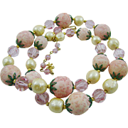 Beautiful Delicate Pink Vendome Flower Garden Necklace