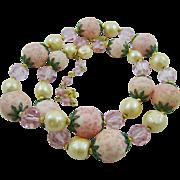 Beautiful Delicate Pink Vendome Flower Garden Necklace