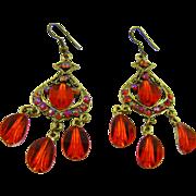 Red Glass Chandelier Earrings