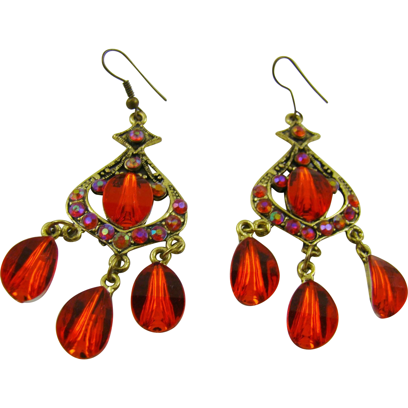 Red Glass Chandelier Earrings